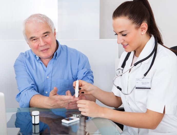 Doctor Checking Blood Sugar